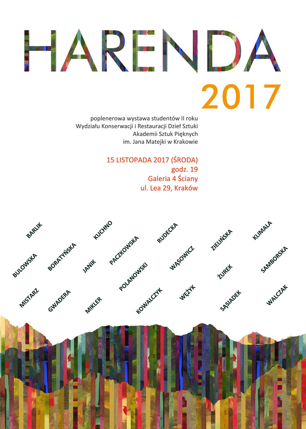 Poplenerowa wystawa studentów II roku HARENDA 2017