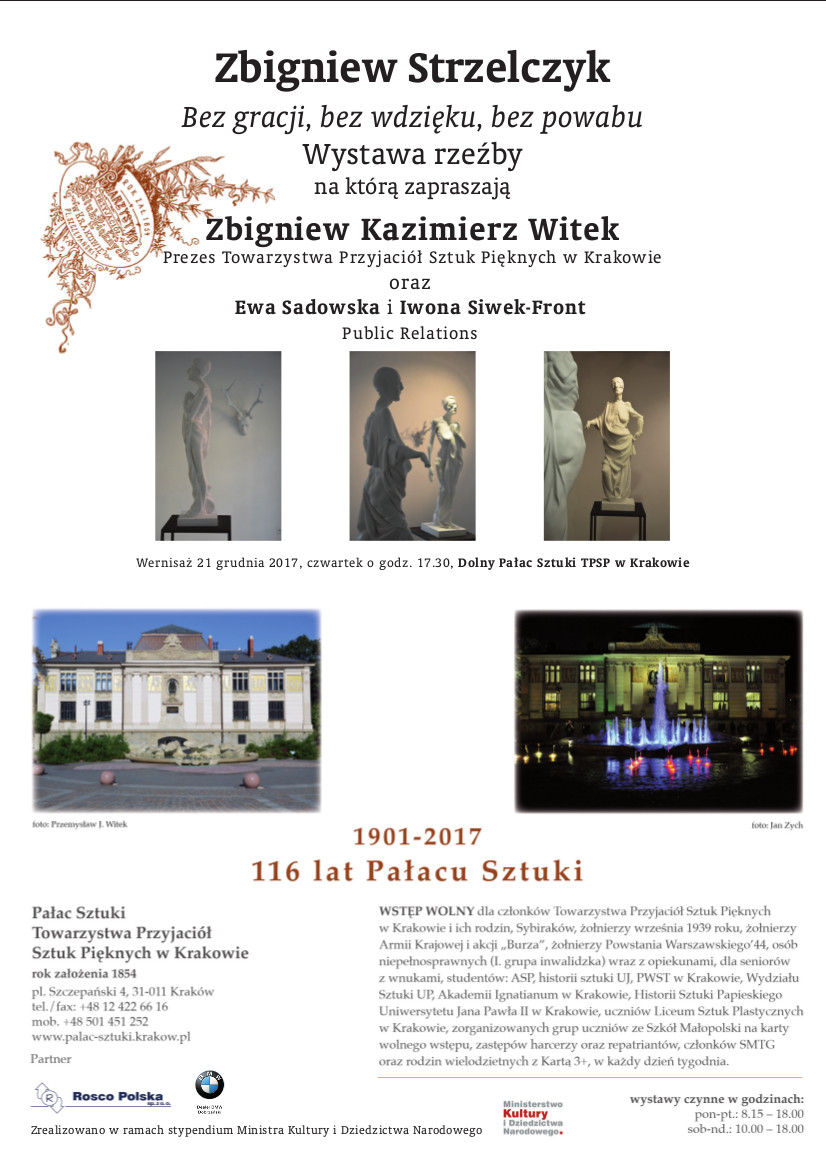 Wystawa rzeźby absolwenta WKiRDS – Zbigniewa Strzelczyka  w Pałacu Sztuki