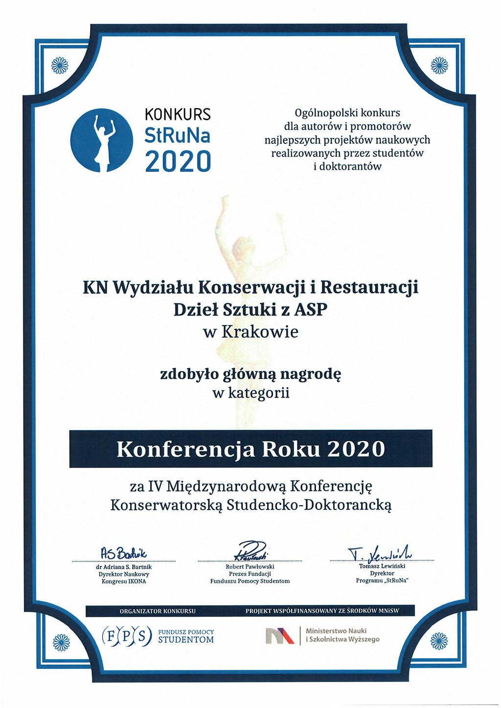 Nagrody dla Koła Naukowego WKiRDS w konkursie StRuNa 2020